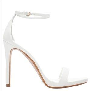 Zara White Ankle Strap Sandal Heels 39